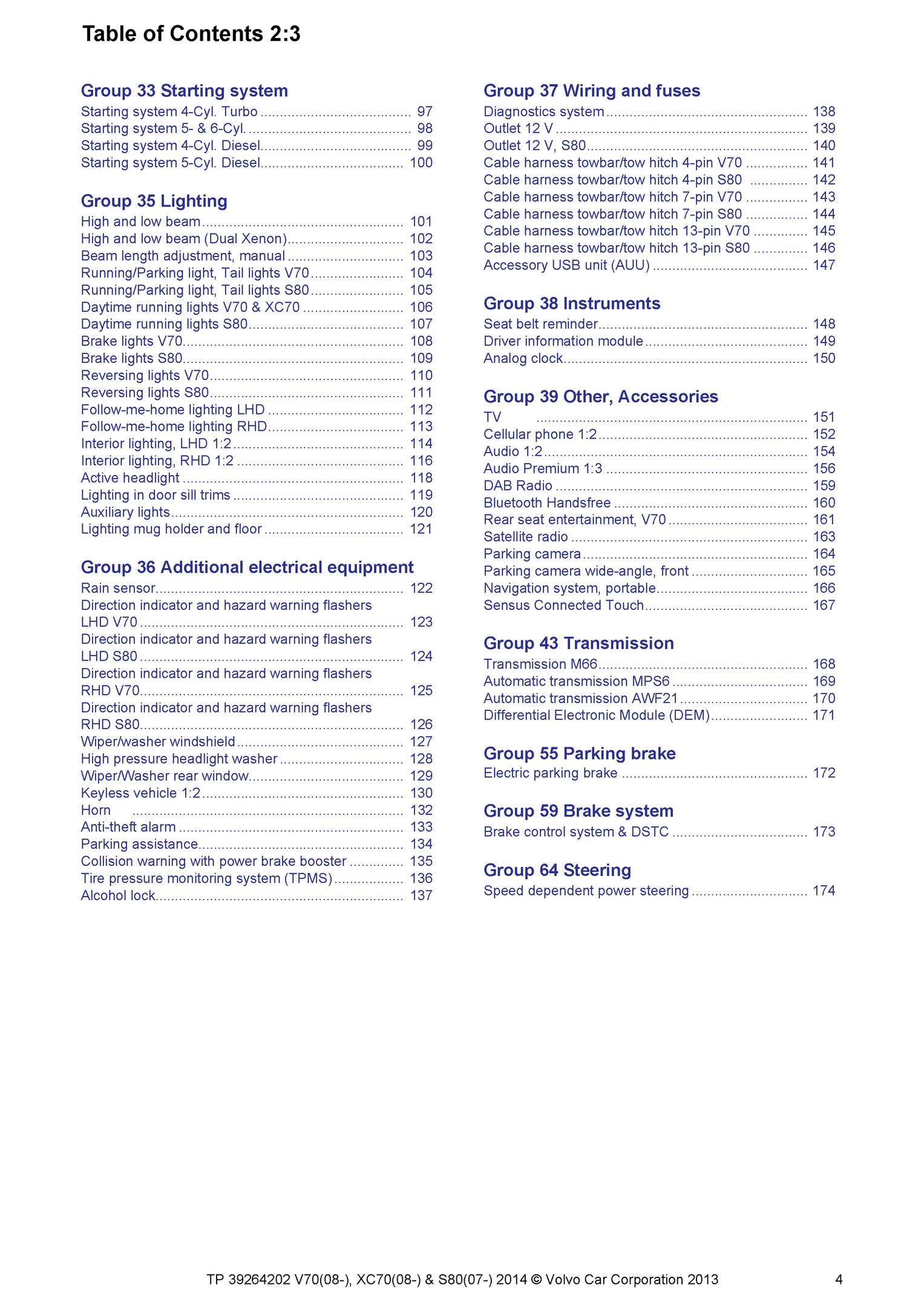 2008 2014 Volvo V70 Xc70 S80 Oem Electrical Wiring Diagram Sample Pages