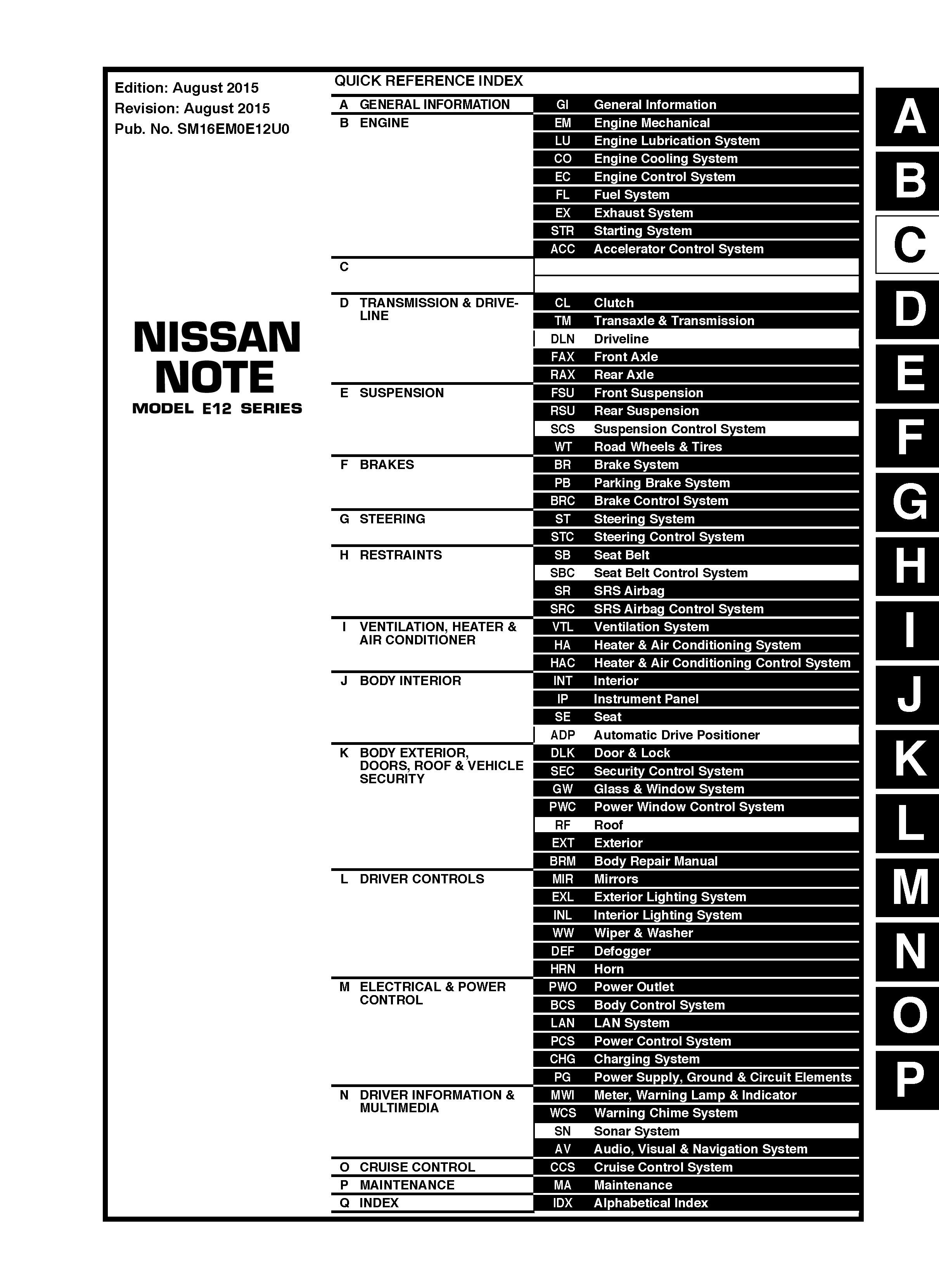 nissan versa note model  series oem service