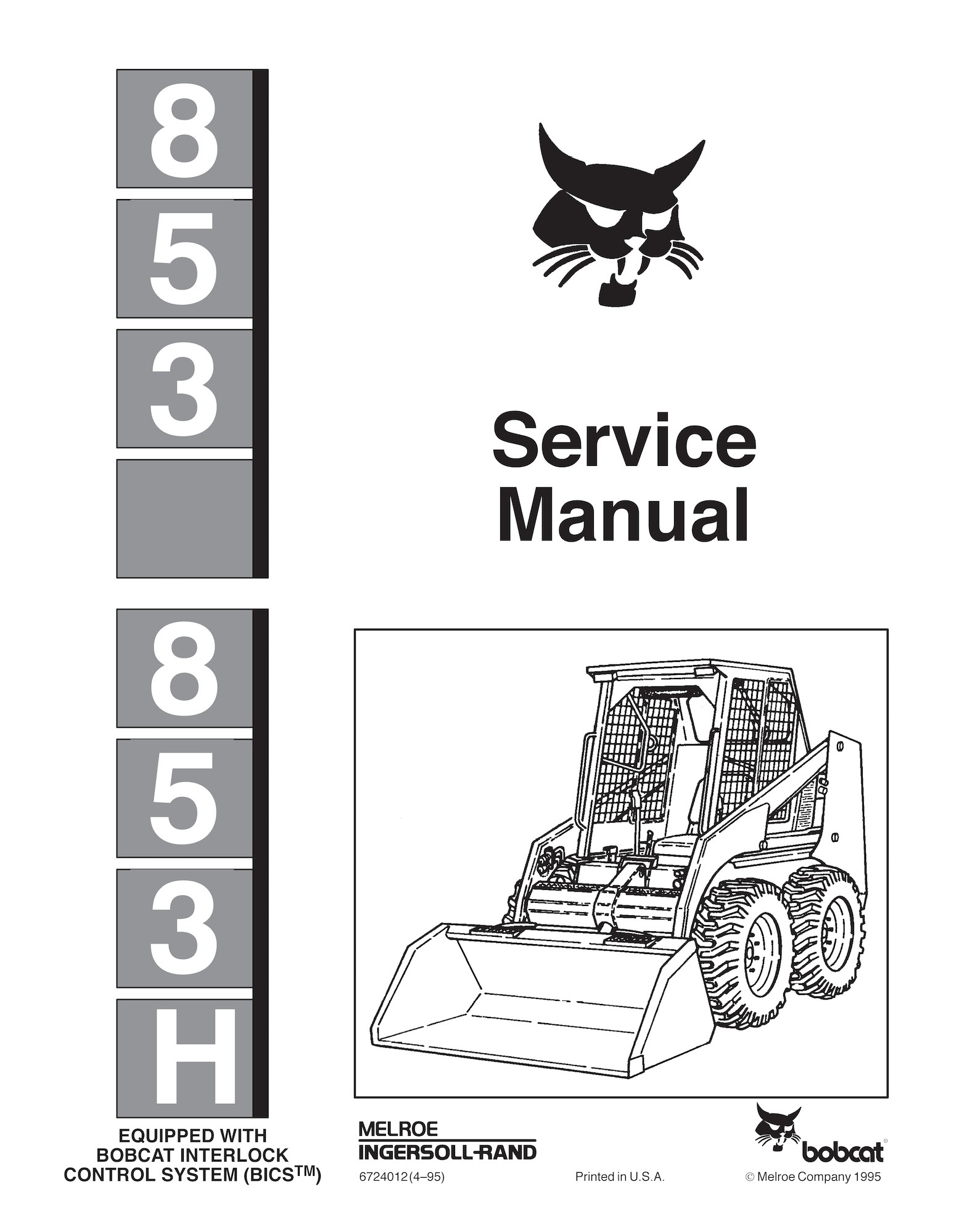 Bobcat 853 And 853h Skid Steer Loader, Oem Service And Bobcat 853 Hydraulic Diagrams  Bobcat 853 Parts Diagram