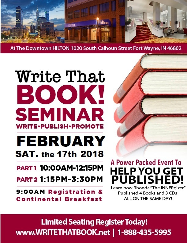 WRITE THAT BOOK!  Seminar  (Online LIVE and at The Downtown HILTON Fort Wayne, Indiana)