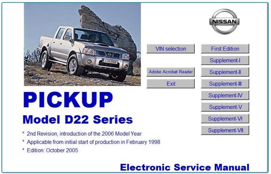 NISSAN D22 PICKUP 1998-2006 WORKSHOP MANUAL