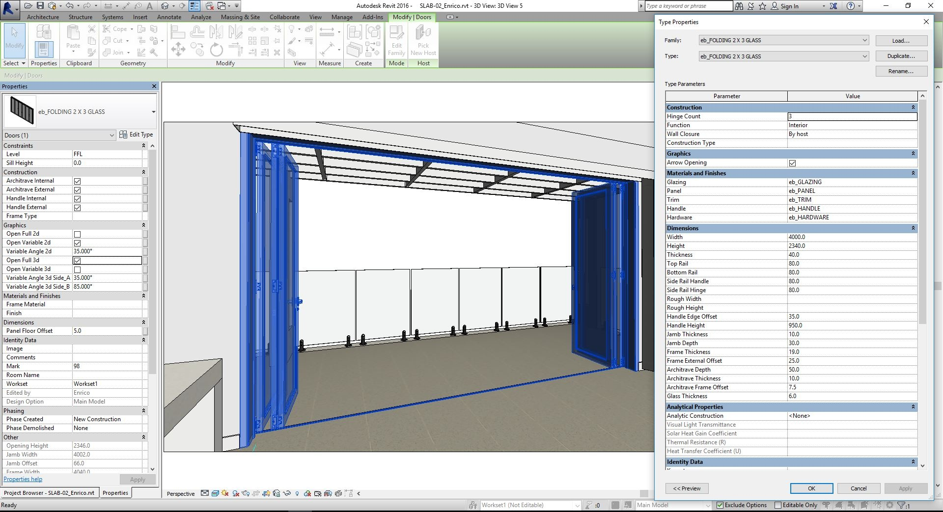 Revit Fully Parametric Folding Doors 2 x 3