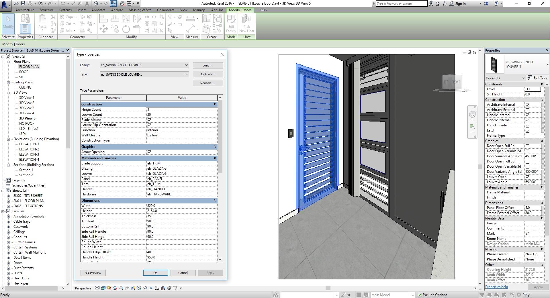 Revit Fully Parametric Louvred Door