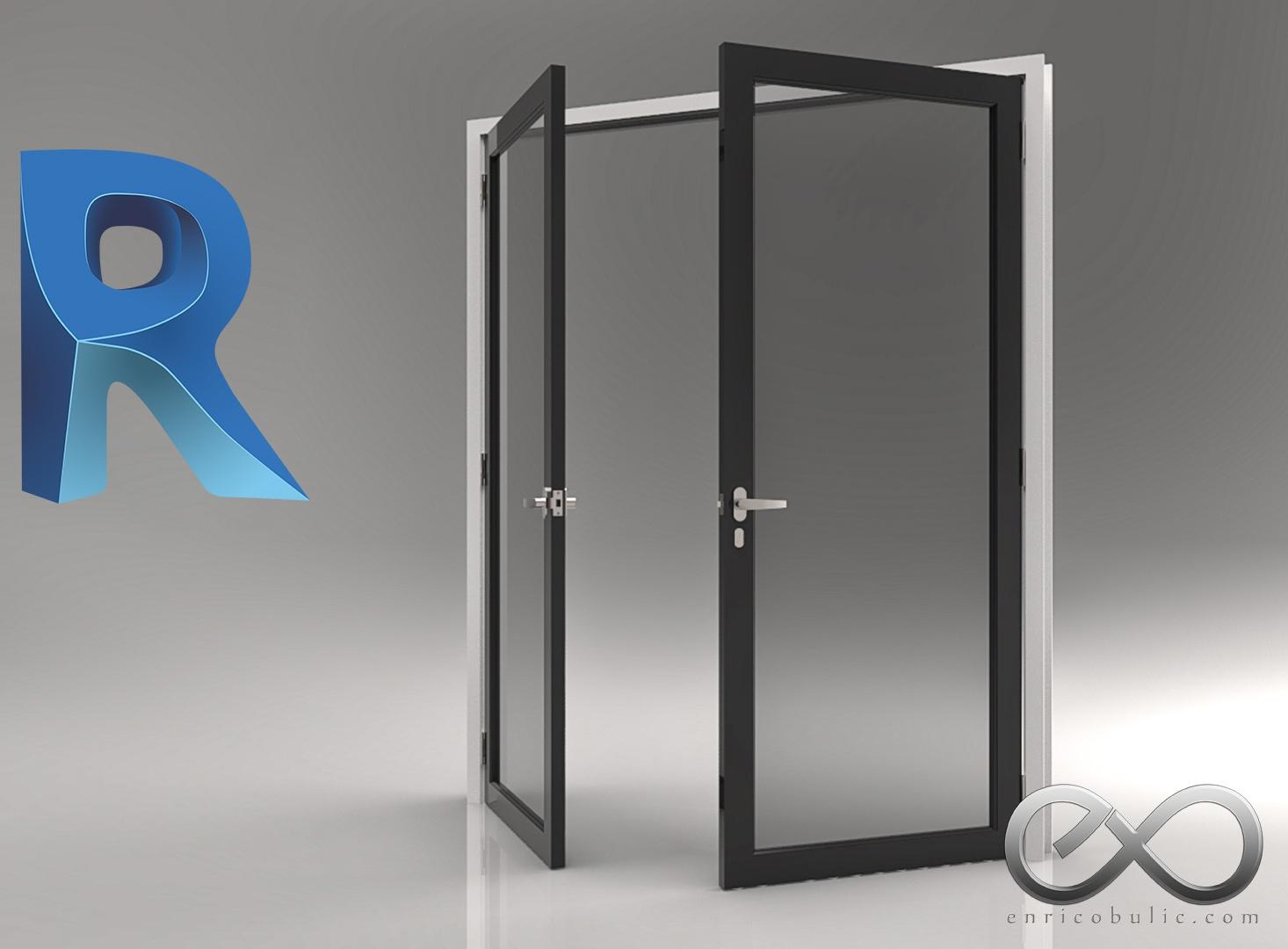 Revit Fully Parametric Glass Doors x 2