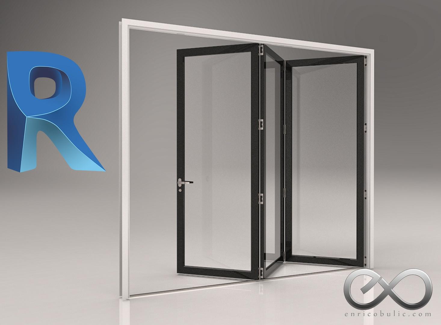 Revit Fully Parametric Folding Doors 1 x 3
