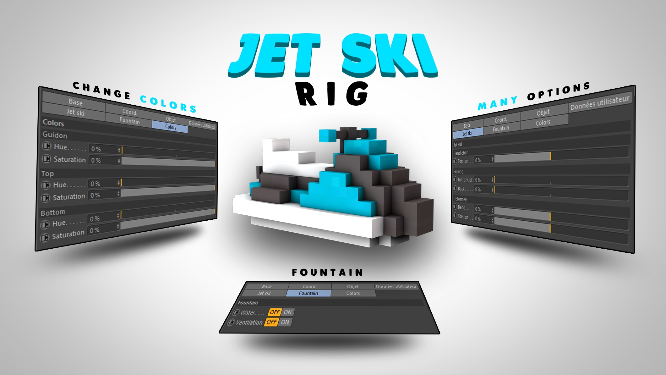 Minecraft - Rig Jet Ski - [Cinema 4D]
