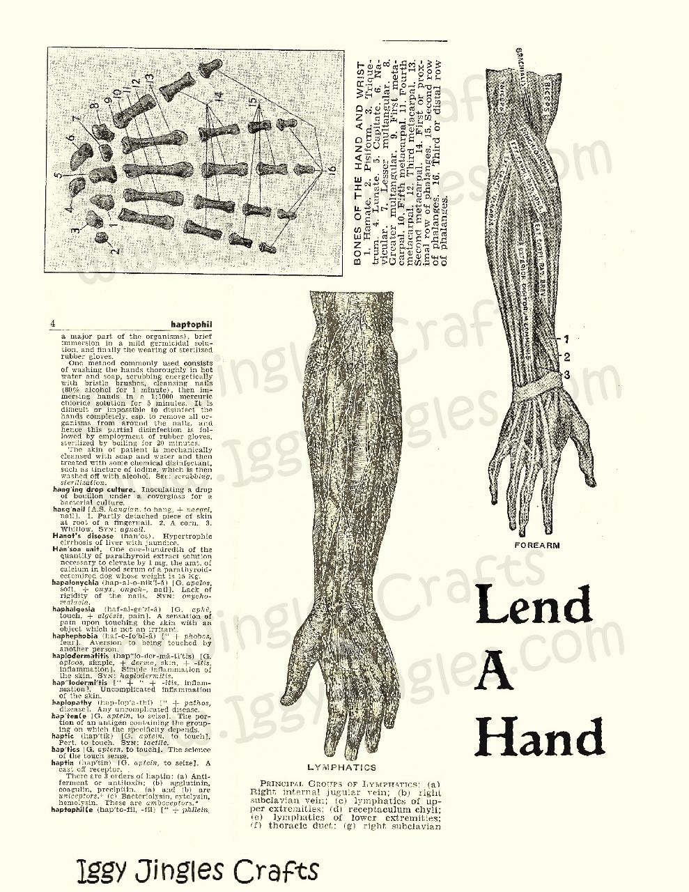 Sepia Lend a Hand Vintage Image Collage Sheet