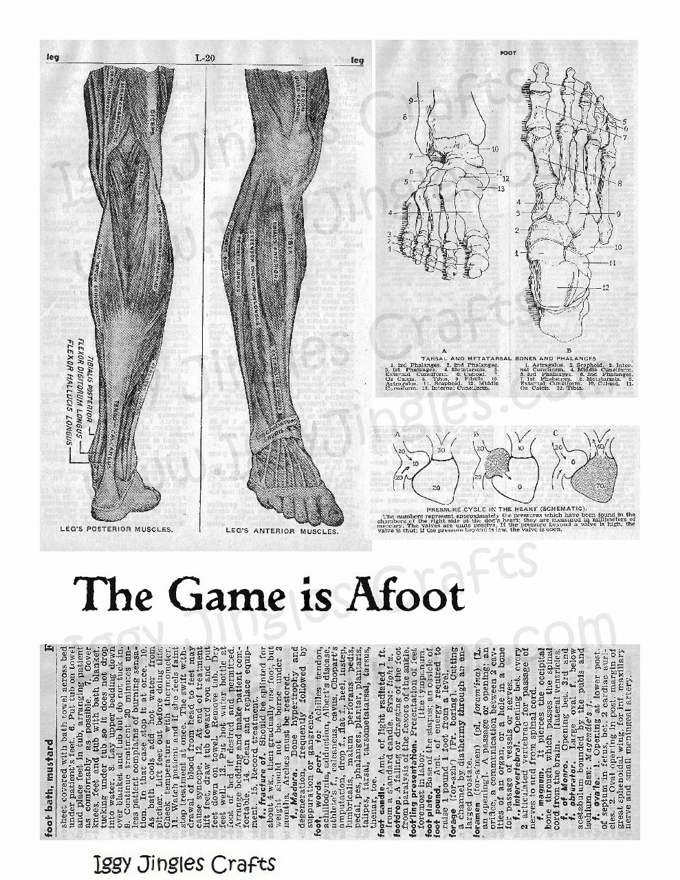 Game is Afoot Vintage Image collage sheet in Black and White
