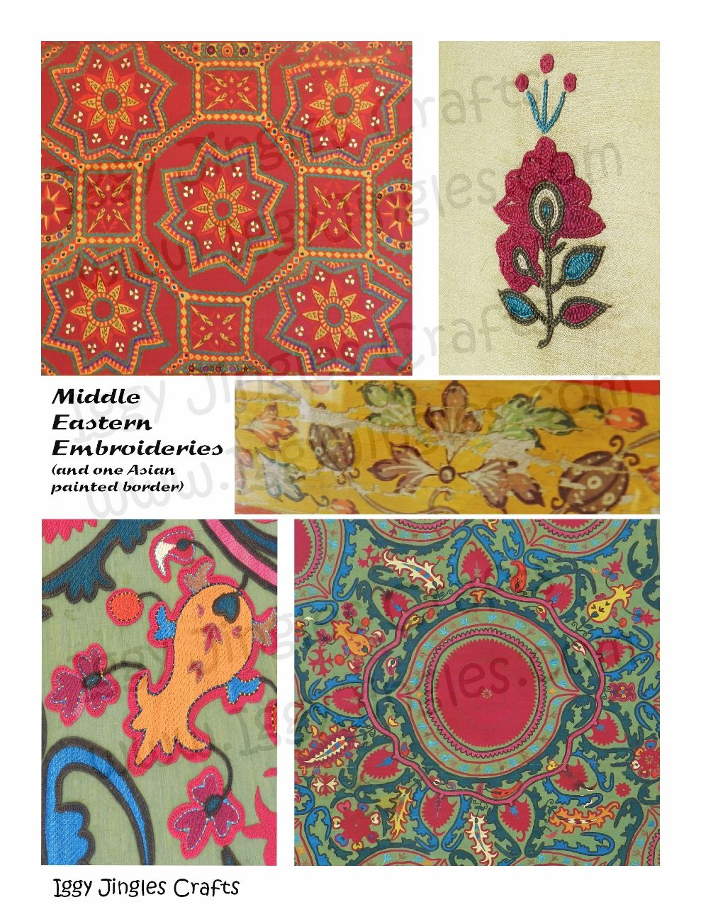 Middle Eastern Embroideries Collage Sheet