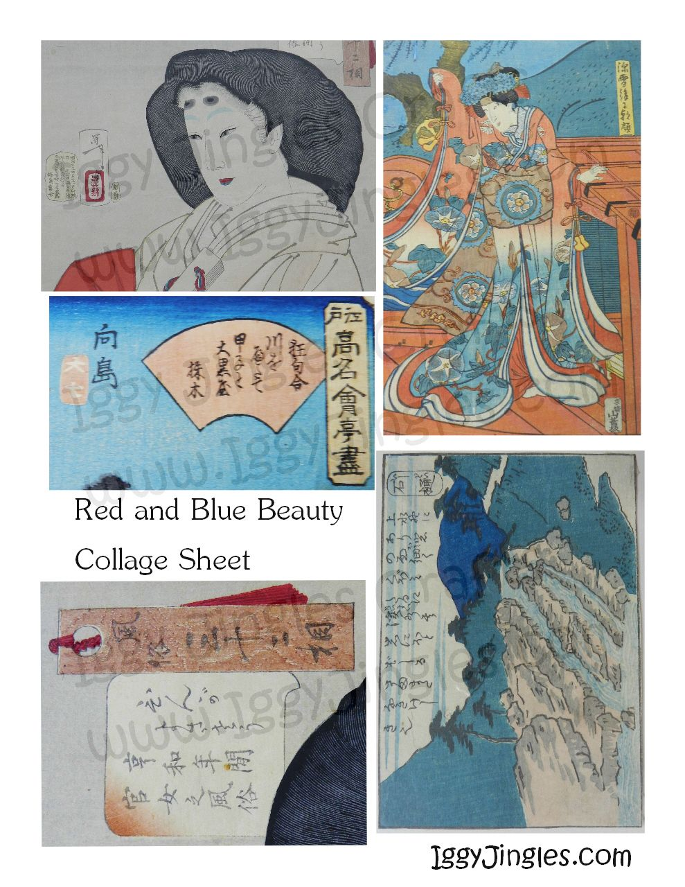 Red and Blue Beauty Asian Image Collage Sheet