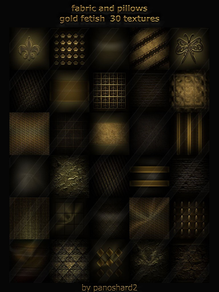 Fabric and pillows gold fetish 30 textures