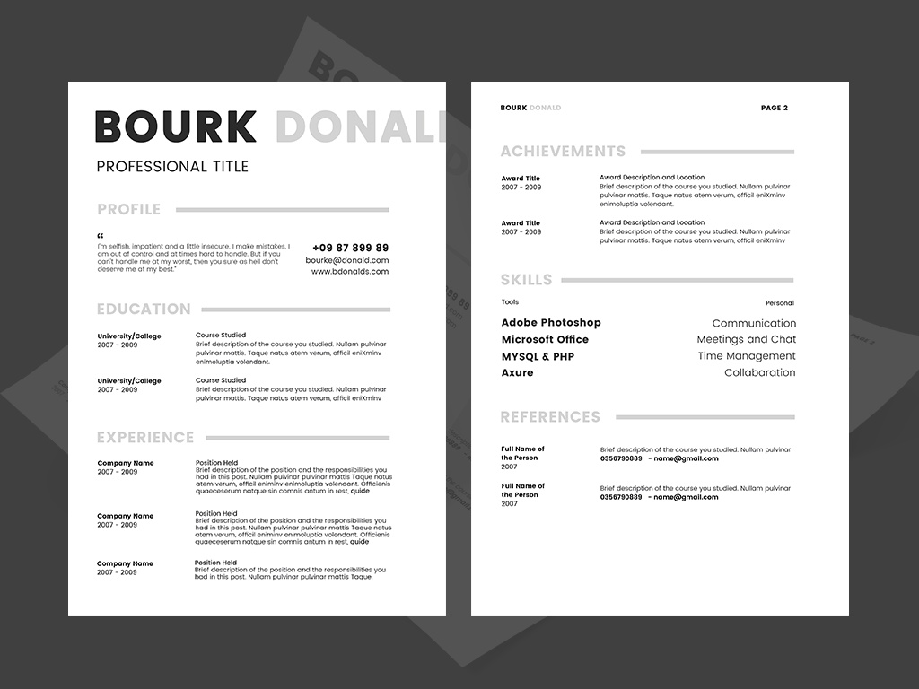 2017 Free Resume CV Template PSD