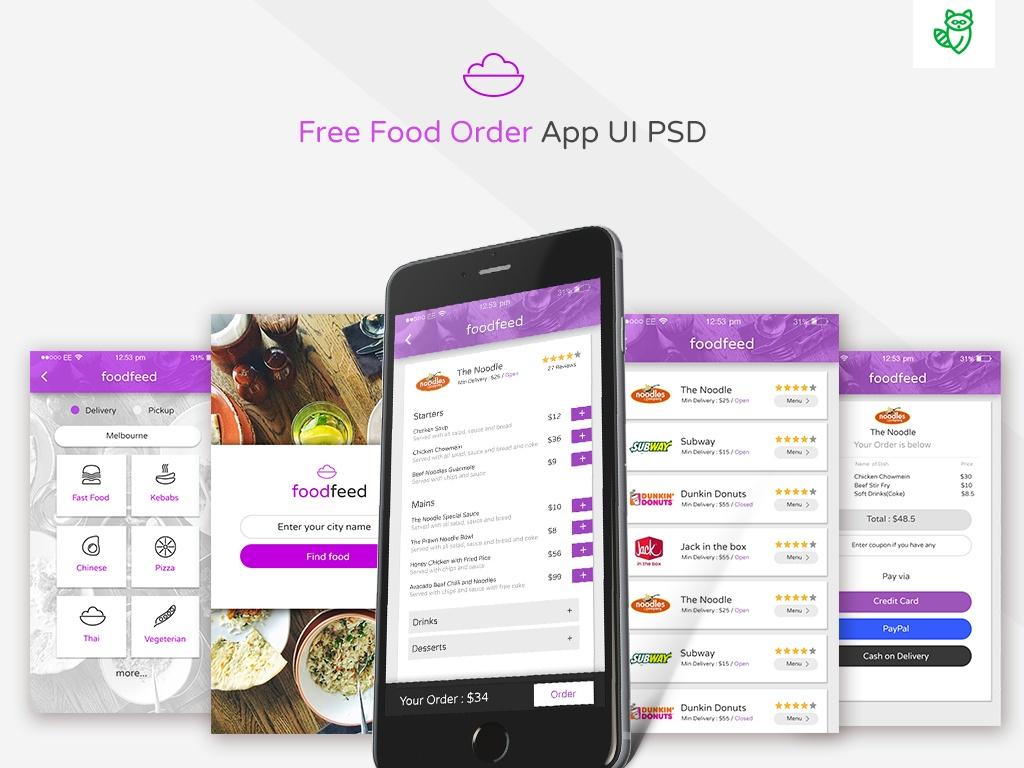 Free Food Order App UI PSD Download - 디자인 2016-10-27 06:00