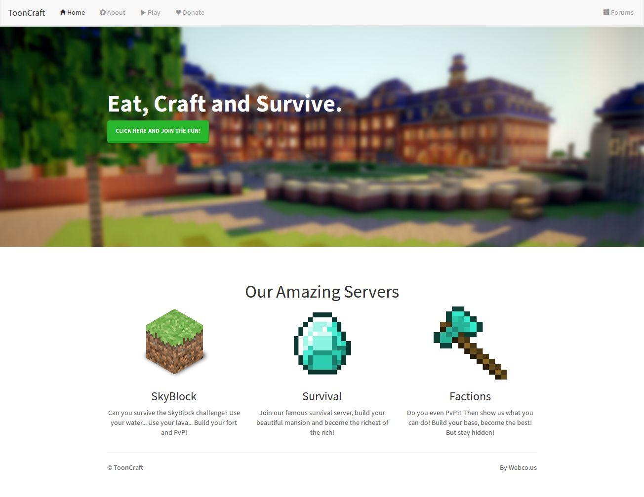 tooncraft minecraft website template minecraft website templates. Black Bedroom Furniture Sets. Home Design Ideas